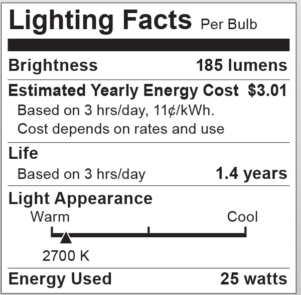 S6050 Lighting Fact Label