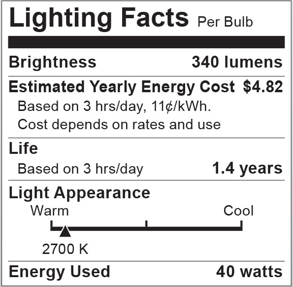 S6051 Lighting Fact Label