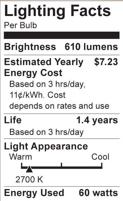 S6052 Lighting Fact Label