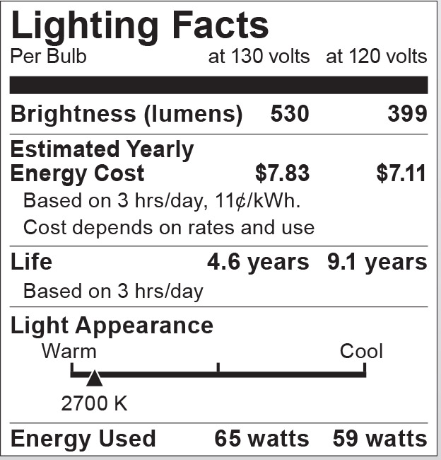 S6208 Lighting Fact Label