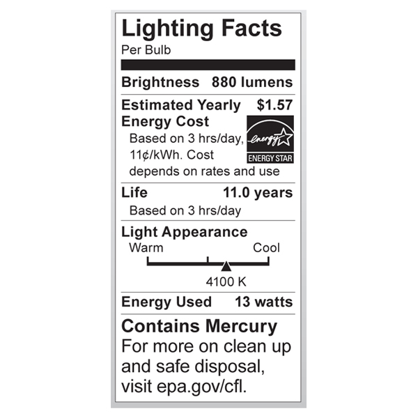 S6236 Lighting Fact Label