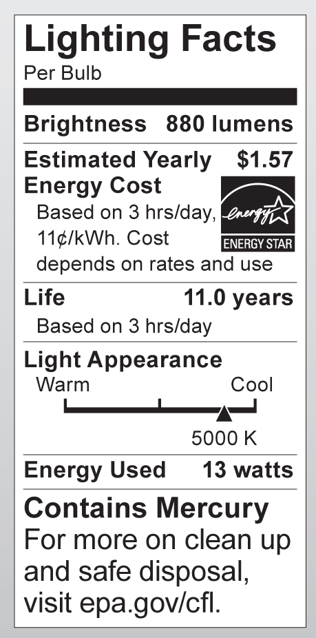S6237 Lighting Fact Label