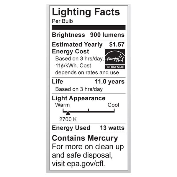 S6238 Lighting Fact Label