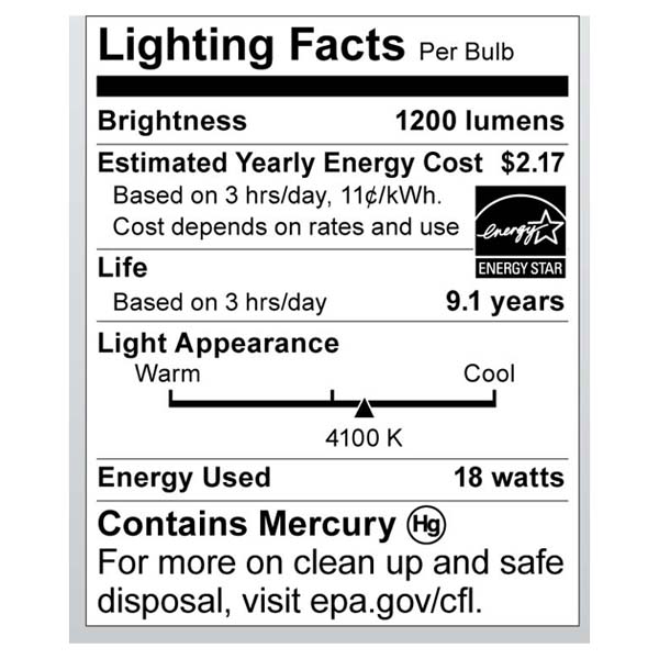 S6272 Lighting Fact Label