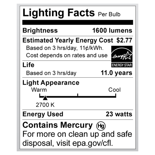 S6274 Lighting Fact Label