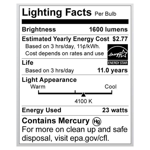 S6275 Lighting Fact Label