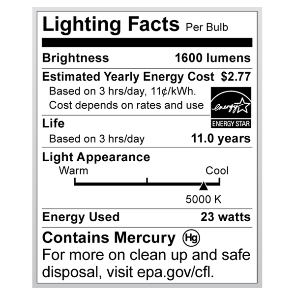 S6276 Lighting Fact Label