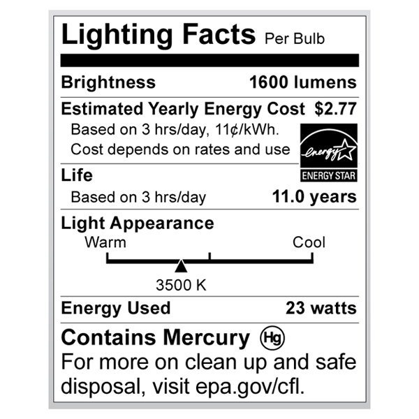 S6284 Lighting Fact Label