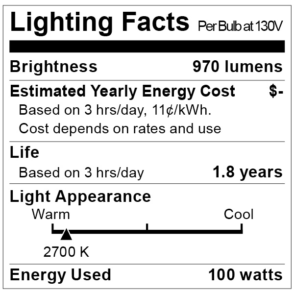 S7001 Lighting Fact Label