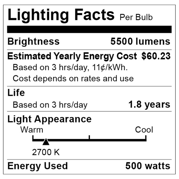 S7007 Lighting Fact Label