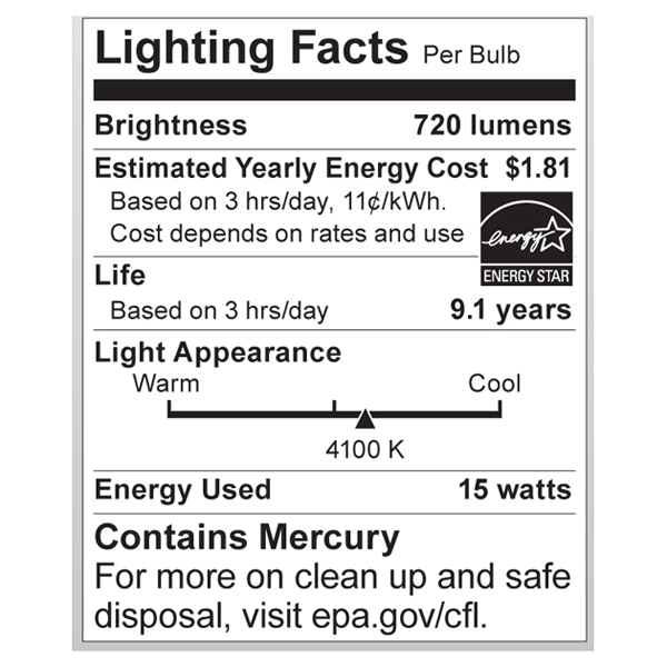 S7205 Lighting Fact Label