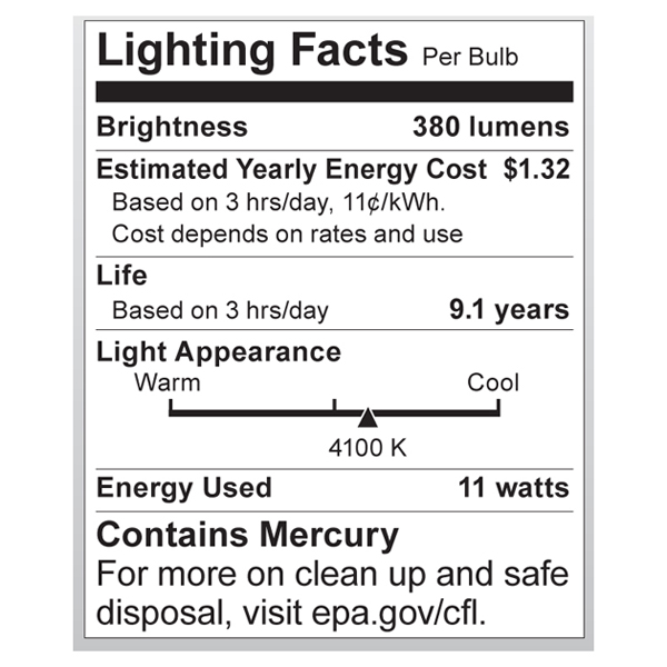 S7208 Lighting Fact Label