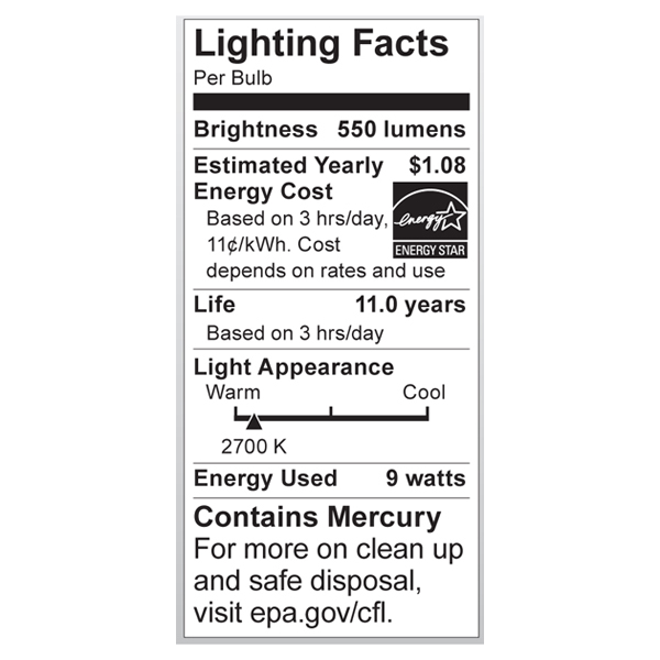 S7211 Lighting Fact Label