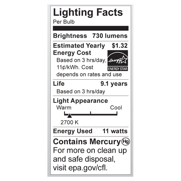 S7214 Lighting Fact Label