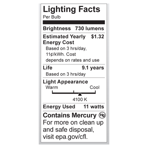 S7215 Lighting Fact Label
