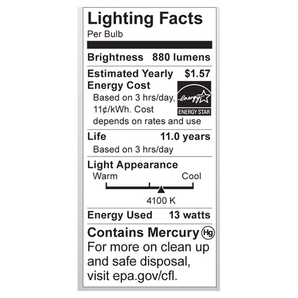 S7218 Lighting Fact Label