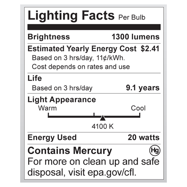 S7235 Lighting Fact Label