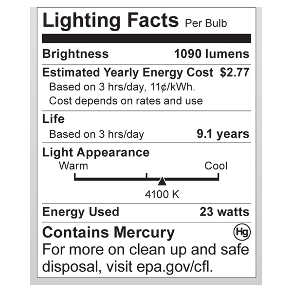 S7242 Lighting Fact Label