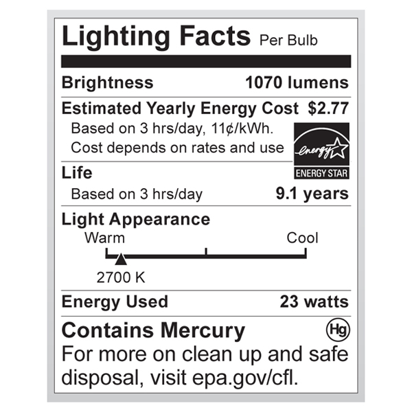 S7274 Lighting Fact Label