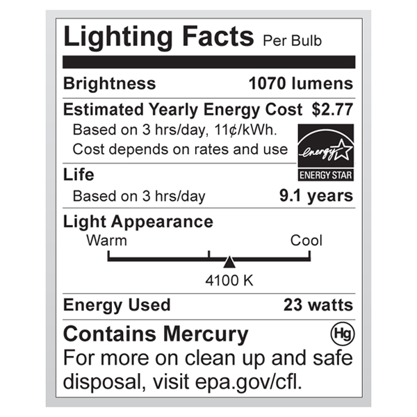 S7275 Lighting Fact Label