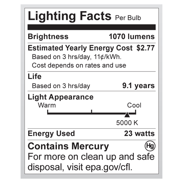S7276 Lighting Fact Label