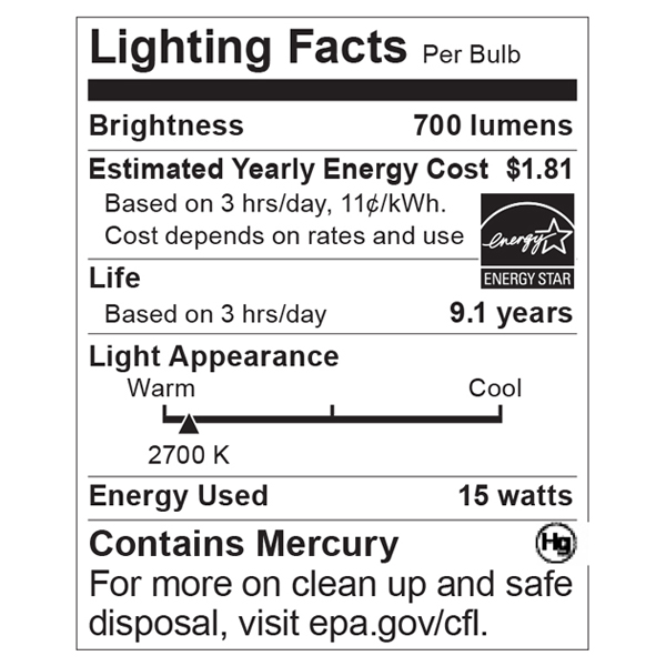 S7278 Lighting Fact Label