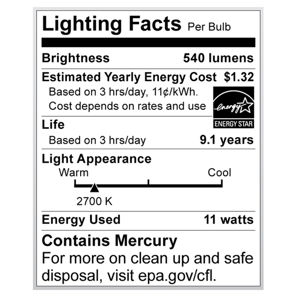 S7287 Lighting Fact Label