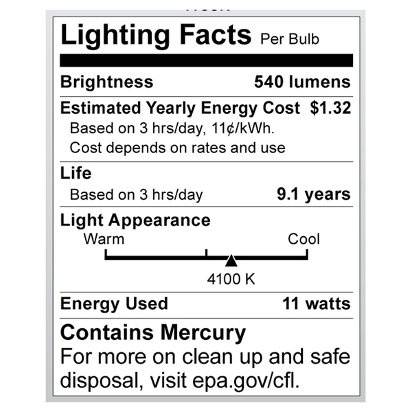 S7288 Lighting Fact Label