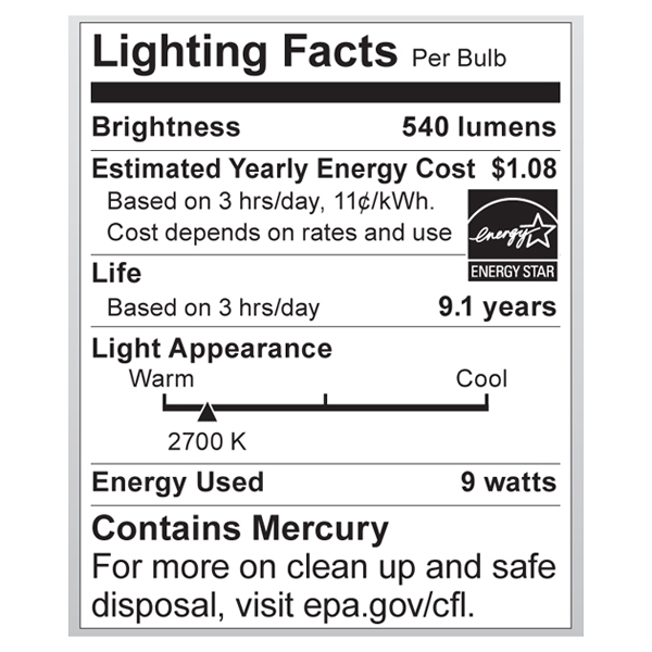 S7301 Lighting Fact Label