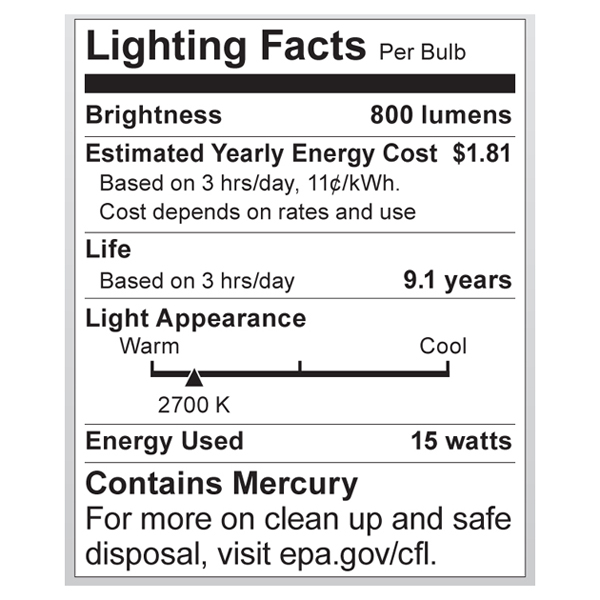 S7307 Lighting Fact Label