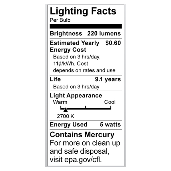 S7314 Lighting Fact Label