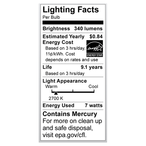 S7321 Lighting Fact Label