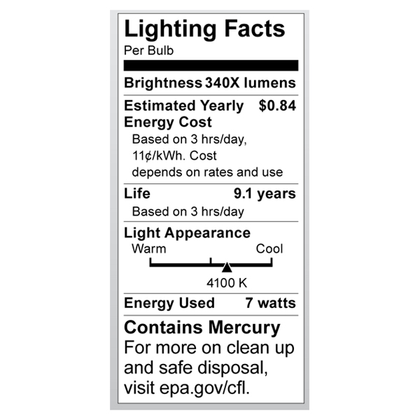 S7322 Lighting Fact Label