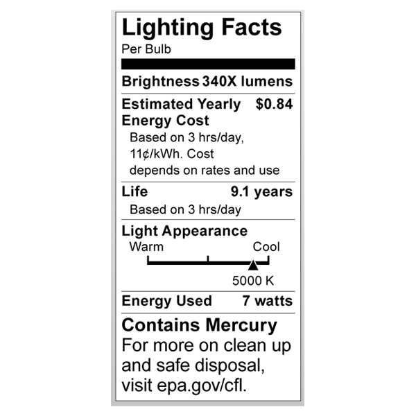 S7323 Lighting Fact Label