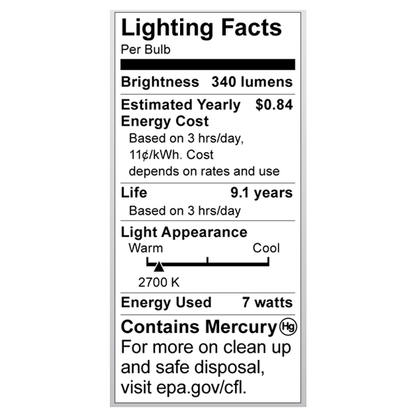 S7327 Lighting Fact Label