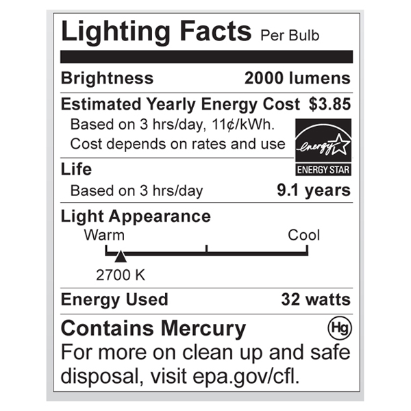 S7331 Lighting Fact Label
