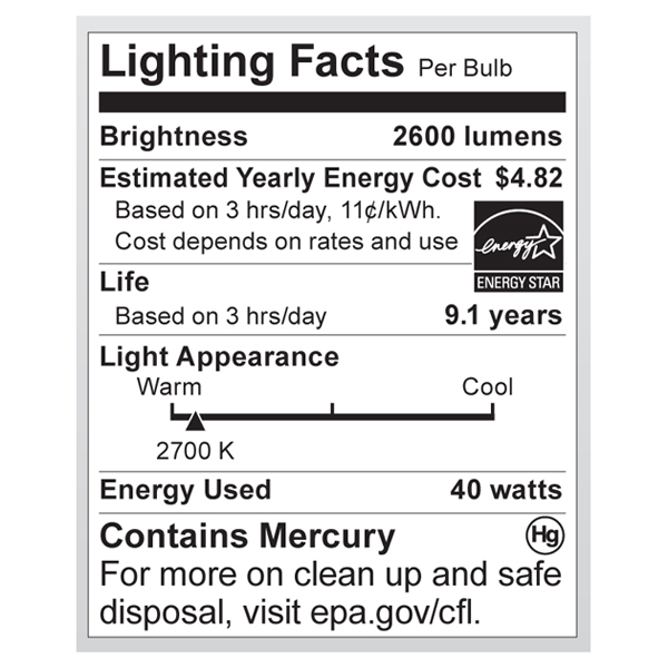 S7334 Lighting Fact Label