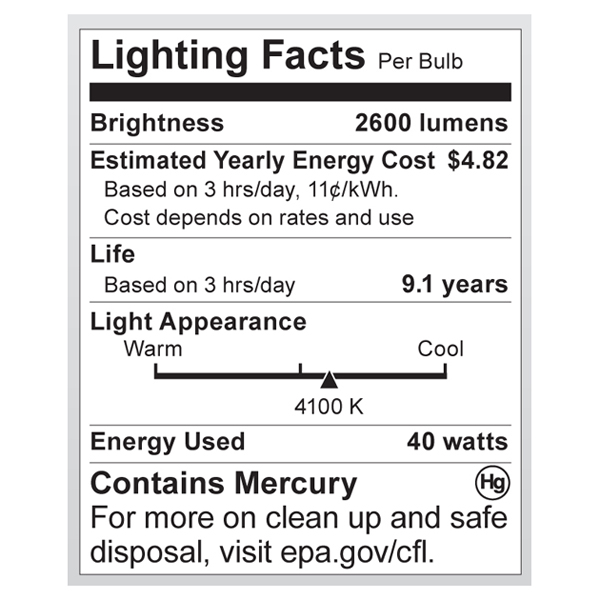S7335 Lighting Fact Label