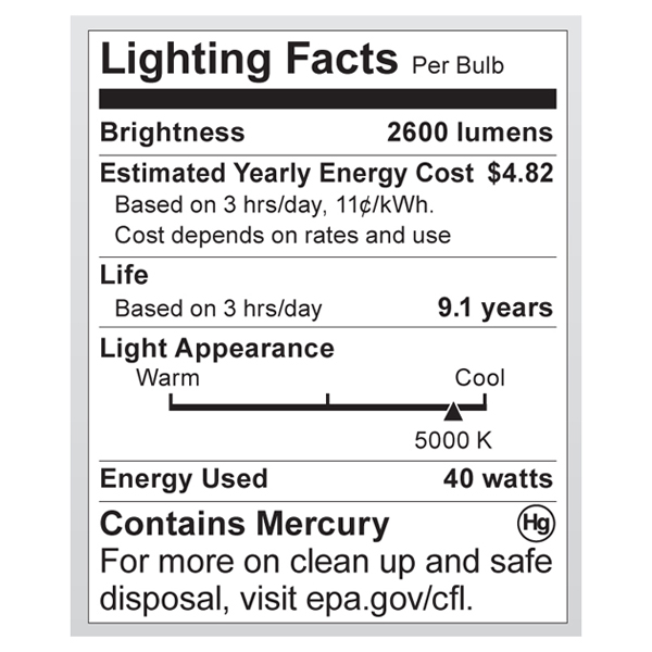 S7336 Lighting Fact Label