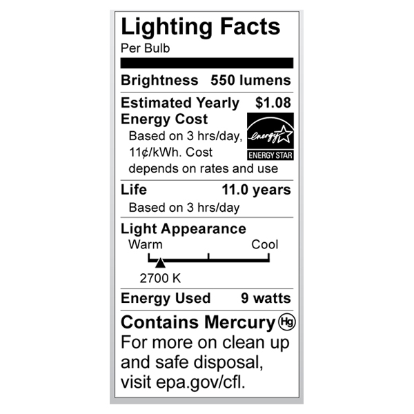 S7361 Lighting Fact Label