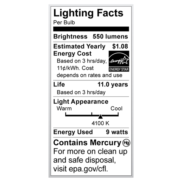S7362 Lighting Fact Label