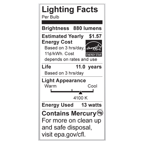 S7365 Lighting Fact Label
