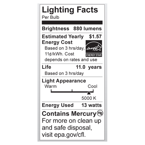 S7366 Lighting Fact Label