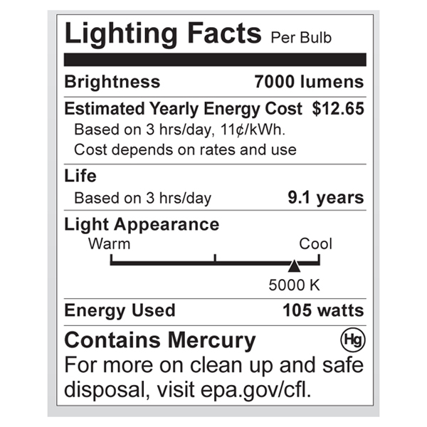 S7377 Lighting Fact Label
