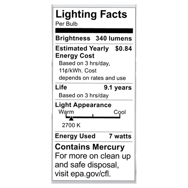 S7381 Lighting Fact Label