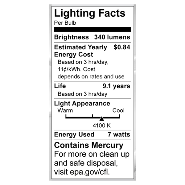 S7382 Lighting Fact Label