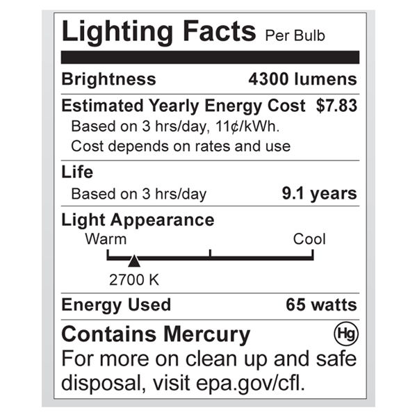 S7384 Lighting Fact Label