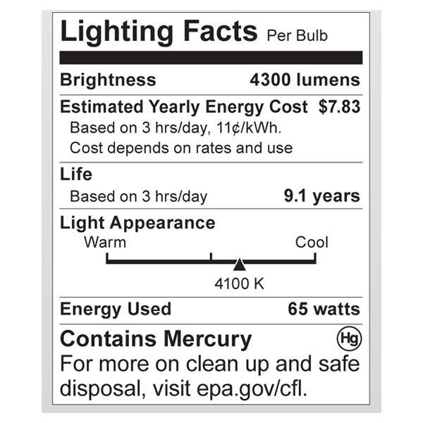 S7385 Lighting Fact Label