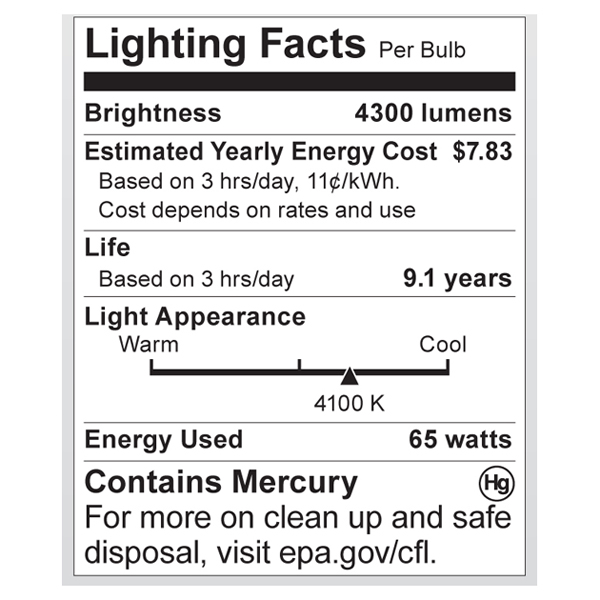S7388 Lighting Fact Label