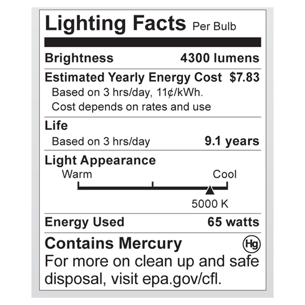 S7389 Lighting Fact Label
